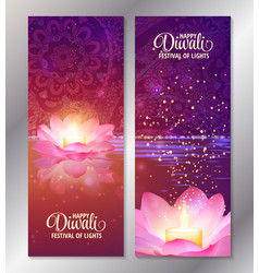 Set of two happy diwali vertical banners with vector
