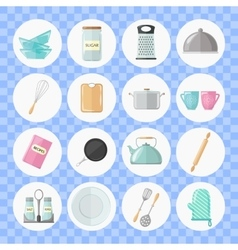 set utensils and cooking icons flat style vector image