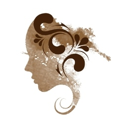 Silhouette a profile a young woman vector