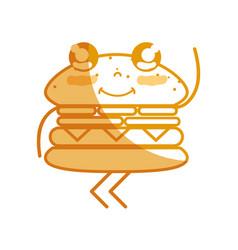 Silhouette kawaii cute happy humburger food vector