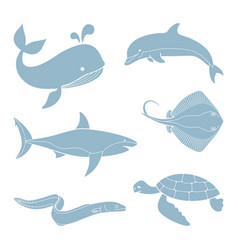 Silhouettes of sea creatures vector