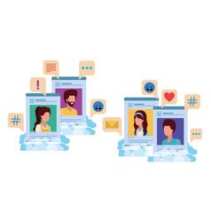 Social media profiles with speech bubble avatar vector