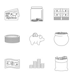 Sponsor support icons set outline style vector