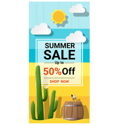 Summer sale background with cactus in desert vector