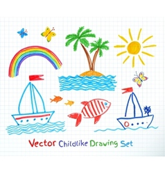 Summer seaside set vector image