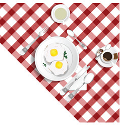 Table for lunch with eggs set two vector