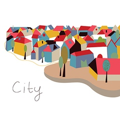 Town with houses and trees vector