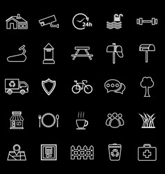 village line icons on black background vector image