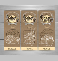 vintage bakery menu design on cardboard vector image
