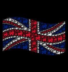 Waving great britain flag collage of baby carriage vector