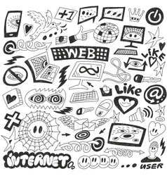 Web Internet computers doodles vector image