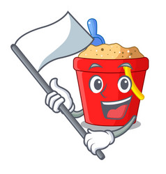 With flag beach bucket in string shape mascot vector
