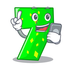 With phone character paper cut number seven letter vector