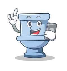 With phone toilet character cartoon style vector