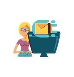 woman with desktop computer and envelope mail vector image