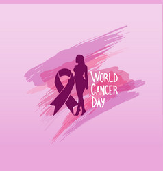 World cancer day breast disease awareness vector
