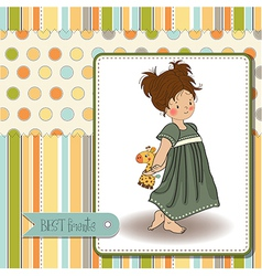 young girl going to bed with her favorite toy a vector image