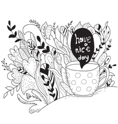 Have a nice day Autumn doodle - coloring book vector image vector image