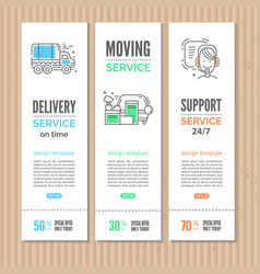moving and delivery template with line icons vector image vector image