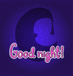 Silhouette of half moon in night hat good night vector