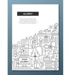 Allergy - line design brochure poster template A4 vector image vector image