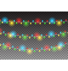 Christmas decoration realistic luminous garland on vector image
