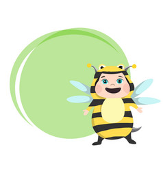 Cute girl dressed in carnival costume bee vector