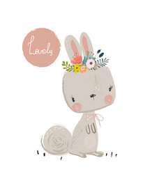 cute summer hare vector image vector image