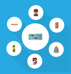 Flat icon eating set of canned chicken ketchup vector