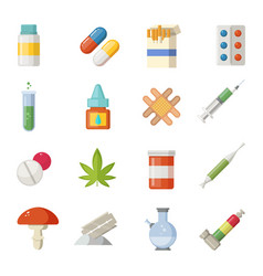 pharmacy different drugs in cartoon vector image vector image