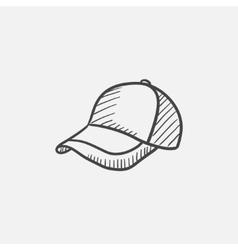 Baseball hat sketch icon vector image