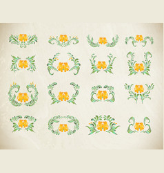 folk yellow painting floral set vector image vector image