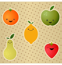 happy fruits vector image vector image