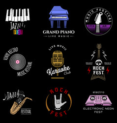 music festival badge logo lettering made recording vector image