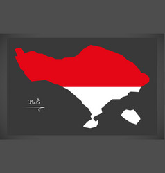 bali indonesia map with indonesian national flag vector image vector image