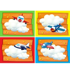 Banner design with airplanes in the sky vector image vector image