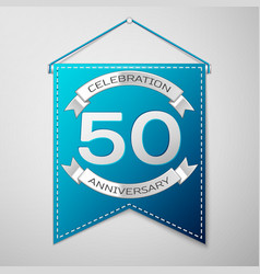 blue pennant with inscription fifty years vector image