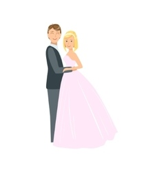 Bride With Short Blond Hair And Groom Newlywed vector image vector image