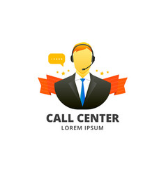 call center avatar emblem vector image vector image