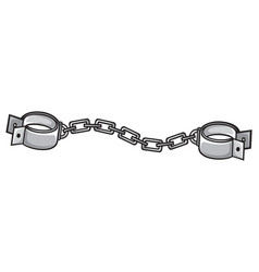 metal shackles with chain vector image