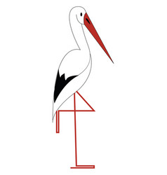 a white stork bird with long bright bill is vector image
