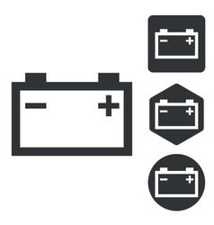 Accumulator icon set monochrome vector