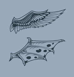 Angel and dragon wings monochrome tattoo style vector