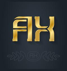 Ax - initials or golden logo a and x - metallic vector