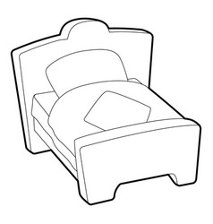 Bed icon outline style vector