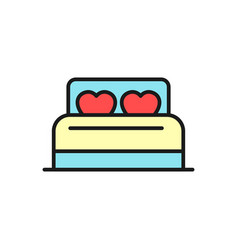 bed with love pillow icon for wedding concept vector image