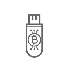 bitcoin cryptocurrency in the cold storage flash vector image