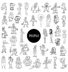 Black and white people characters huge set vector