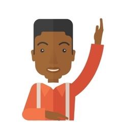 Black Student raising his hand vector image