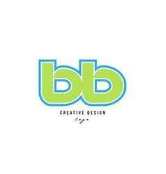 Blue green alphabet letter bb b b logo icon design vector